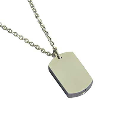 Amazon silver dog tag necklace cremation urn pendant military amazon silver dog tag necklace cremation urn pendant military memorial ash keepsake stash vial 16 inches jewelry aloadofball Images