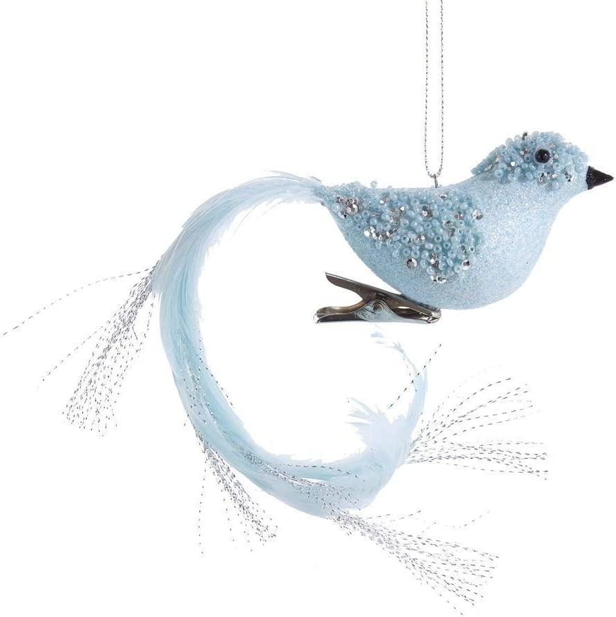 Amazon Com Kurt Adler Blue With Silver Glitter Long Tail Bird With Clip Ornament Home Kitchen