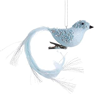 Kurt Adler Blue with Silver Glitter Long Tail Bird with Clip Ornament