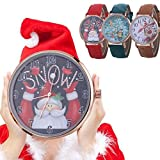 Womens Quartz Watches,COOKI Christmas Santa Claus Analog Clearance Lady Watches Female Watches for Women,Round Dial Case Comfortable Canvas Watch-A259