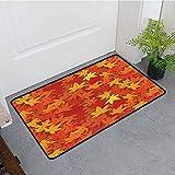 ONECUTE Funny Doormat,Burnt Orange Multi Colored Autumn Fall Maple Leaves in Unusual Designs Nature Theme Artprint,Bathroom mat,24'x16' Burnt Orange