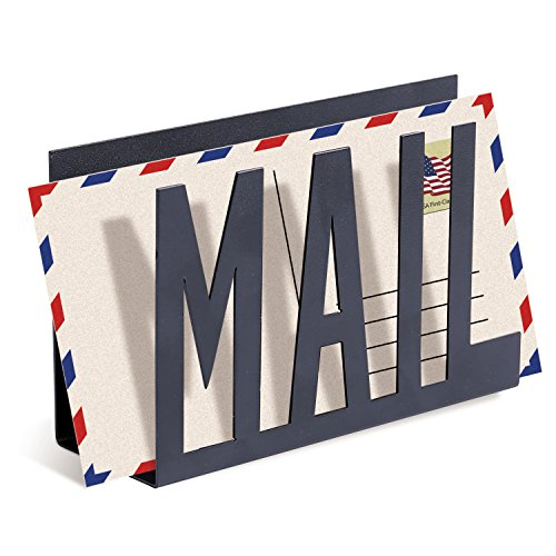 (MyGift Black Metal Desktop Cutout Mail Letter Holder)
