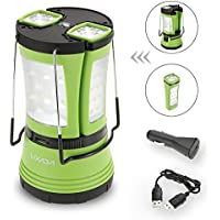 Lixada 3-in-1 Rechargeable/Battery Operated LED Lantern with 2 Detachable Mini Flashlights Torch