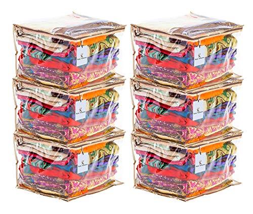 Kuber Industries PVC Saree Cover with Capacity of 10 15 Sarees Set of 6 Pcs ,CTKNEW162