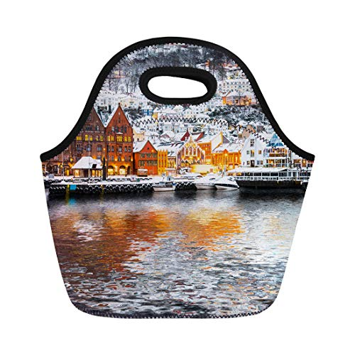 Semtomn Neoprene Lunch Tote Bag Bryggen Street Wooden Houses Reflection in Bergen at Christmas Reusable Cooler Bags Insulated Thermal Picnic Handbag for Travel,School,Outdoors,Work