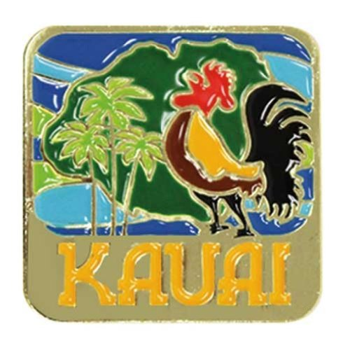 Islander Hawaiian Lapel or Hat Pin Kauai Rooster Blue, Gold One Size (Hat Rooster Pin)