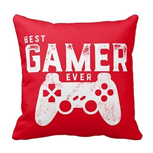 "Price comparison product image 18"" x 18"" Best Gamer Ever for Video Games Geek Decorative Throw Pillow Case Cushion Cover"
