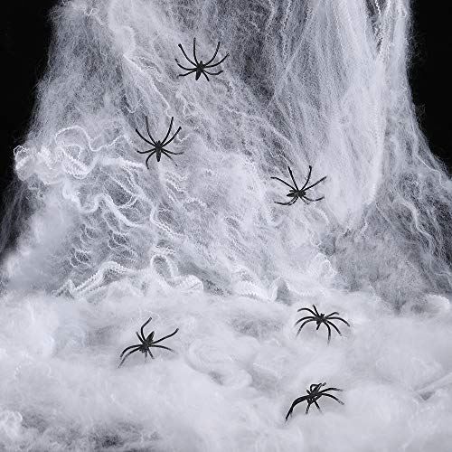 Webbing Yard - Halloween Spider Web Decorations, Stretch Cobweb with 30 Plastic Spiders, Spooky Spider Webbing Set for Halloween Decor Props Outdoor Yard, Indoor, haunted house, Doorways, Bar