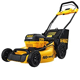 DEWALT DCMW290H1 40V MAX 3-in-1 Cordless Lawn Mower 79 BRUSHLESS MOTOR: Powerful Brushless motor for high power output 3-IN-1: mulching, bagging, and rear discharging all-in-one METAL DECK: Heavy duty 20 in. Metal deck