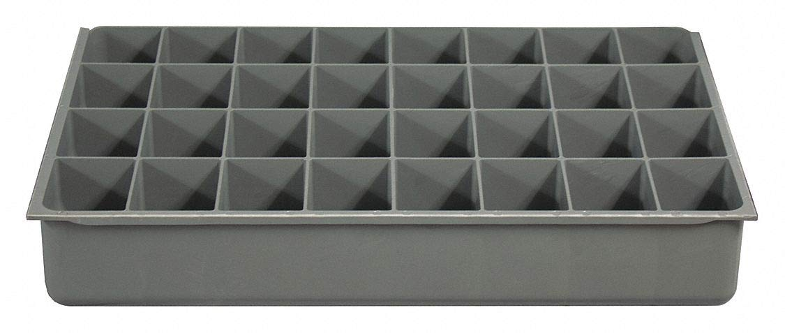 Plastic Compartment Drawer Insert, Compartments per Drawer: 32, Removable Dividers: No, Gray