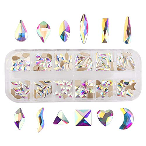 Nancybeads Crystal AB Mixed Flat Back Crystal Rhinestones Gems for 3D Nail Art Phone DIY Crafts (Crystal AB Mixed 144pcs)