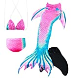 HARDKING Mermaid Tails for Swimming with Monofin Mermaid Swimmable Costume Swimsuit for Girls 4Pcs Sets (140(10-12Years), Pink and Green 1)