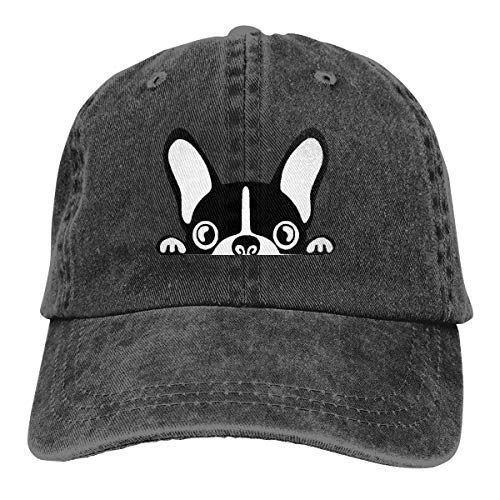 NUANYANG Adults Boston Terrier Denim Baseball Cap Hats