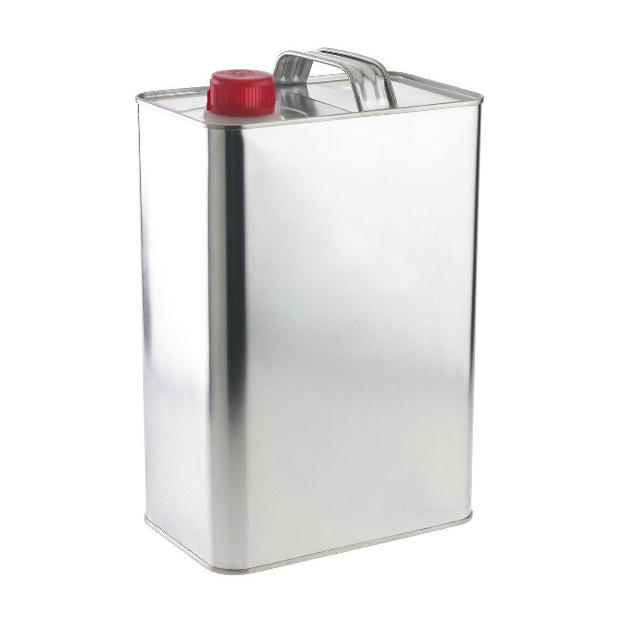 Tin-plated Rectangular Steel Metal Can Jug with Plastic REL Cap , F-Style, (1 Gal Capacity)
