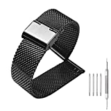 Milanese Mesh Stainless Steel Strap with Hook Buckle 22mm Classic Polished Silver Watch Band - Black