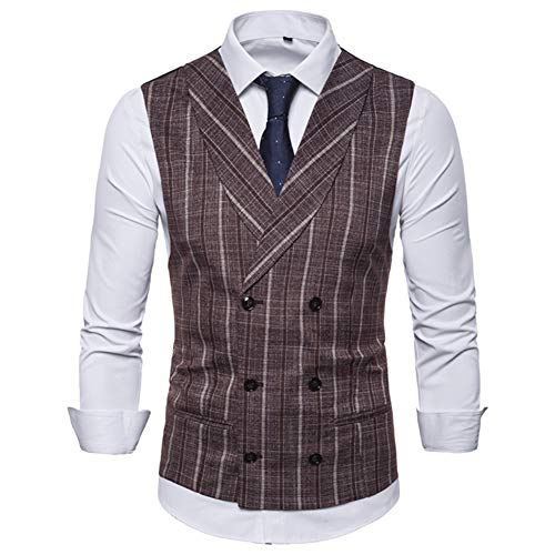 Keepline Men's Striped Tweed Suit Vest Double-Breasted Casual Waistcoat Shawl Lapel Business Suit Vest Coffee, Large