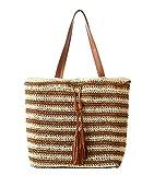 Tonwhar Womens Summer Paper String Woven Bag Stripes Beach Tote Bag (Light tan)