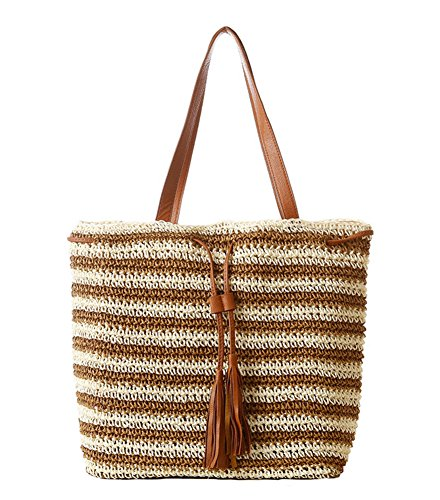 Handbag Woven Tan (Tonwhar Womens Summer Paper String Woven Bag Stripes Beach Tote Bag (Light tan))