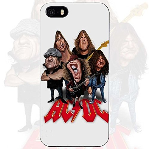 INT Red White ACDC iPhone 5C Case 80s Band AC DC Cover AC/DC Rock N Roll Themed Lightning Bolt Logo Guitars Caricature, Hard Plastic (Logo Dc Guitar)