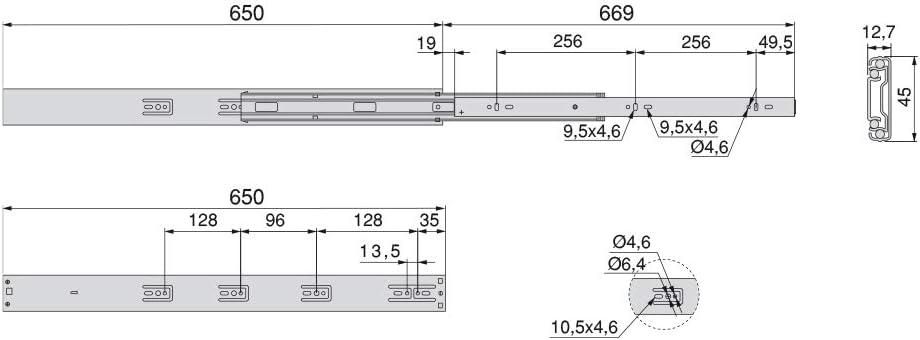 pack de 5 juegos de gu/ías de extracci/ón total con cierre suave Gu/ías laterales para cajones con rodamiento de bolas 45mm x 650mm Emuca