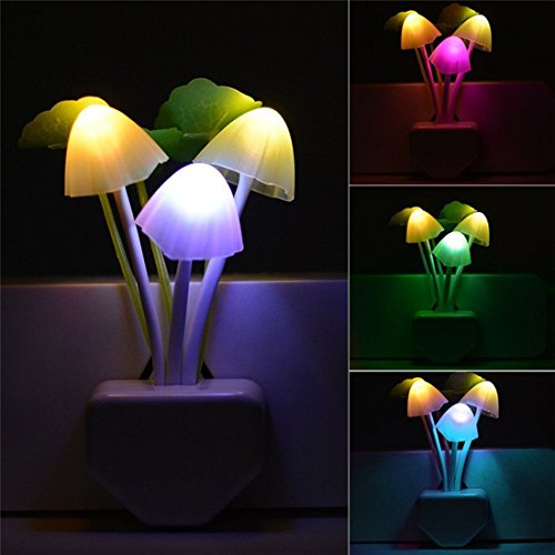- Smart Dusk to Dawn Sensor Led Night Light, 0.6W Multi-Color Changing Plug-in Mushroom Dream Bed Nightlight, Funny Energy Efficient Wall Lamp Flower Novelty Gifts for Nursery, Baby, Kids, Adults