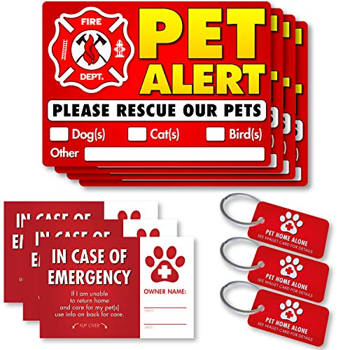 Pet Alert Stickers, Key Tags, Cards (10 Pack) - FIRE Safety Alert and Rescue - Save Your Pets encase of Emergency or Danger Pets in Home for Windows, Doors sign5