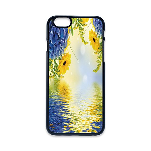 - Phone Case Compatible with iPhone5 iPhone5s 2D Print Black Edge,Yellow and Blue,Romantic Bouquet of Hydrangeas and Asters on Water Background,Violet Blue Earth Yellow,Hard Plastic Phone Case