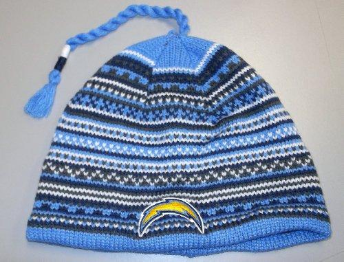 Blue Reebok Nfl Light - NFL Reebok San Diego Chargers Light Blue Northern Lights Tassel Knit Beanie