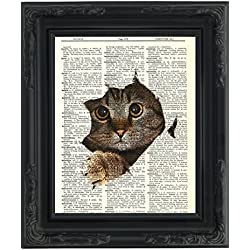"Dictionary Art Print - Kitty Cat Tearing Through the Page - Printed on Recycled Vintage Dictionary Paper - 8""x11"" - Mixed Media Poster on Vintage Dictionary Page"