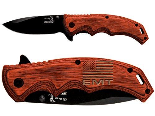 US-FLAG-Emergency-Medical-Team-Engraved-Elk-Ridge-ER-A004BW-Pakkawood-Stalwart-Folding-Ballistic-Pocket-Knife-by-NDZ-Performance
