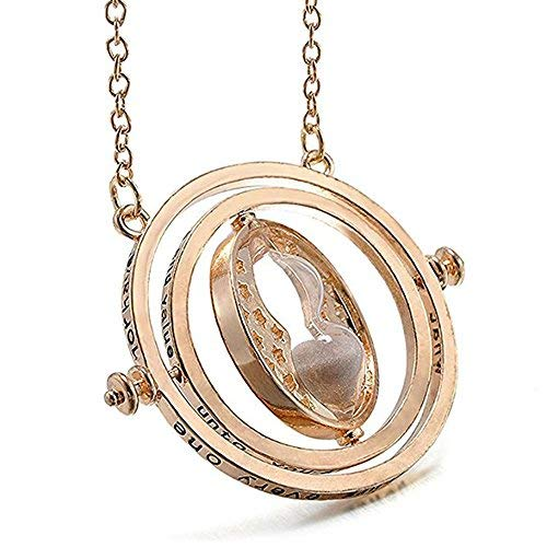 SunbriloStore Time Turner Necklace Hermione Wizardry Hourglass Necklace Time Turner Rotating Pendant in Exquisite Box(Golden)]()