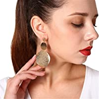 Heyuni. Fashion Punk Exaggeration Earrings Women Jewelry Frosted Wafer Earring,Gold
