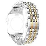 Replacement for Apple Watch Band 44mm Series 4 Women Men, PUGO TOP Stainless Steel Iwatch Band 42mm iPhone Watch Band Metal with Butterfly Buckle for Series 3/2/1(42mm/44mm, Gold)
