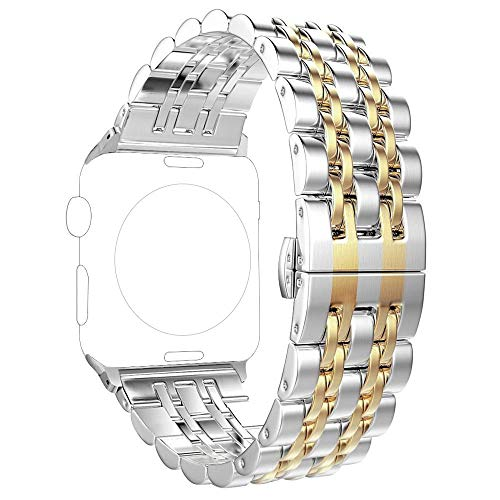(Replacement for Apple Watch Band 38mm Series 3 2 1 40mm Series 4, PUGO TOP Stainless Steel Iwatch Bracelet Link Band with Butterfly for Men Women(38mm/40mm, Gold))