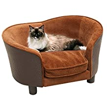 PawHut Rattan Style Pet Dog Cat Sofa Pet Bed Warm Dog Bed Chair with Removable Washable Cushion