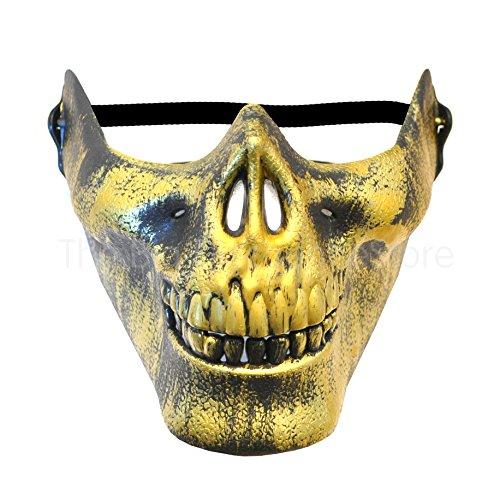 Half Skull Mask - Halloween / Paintball - Face Protection Mask (Gold) (Jason Fancy Dress)
