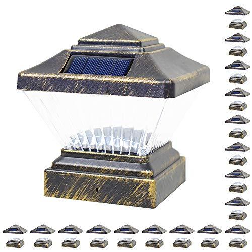 18 Pack Vintage Bronze Garden 4 x 4 Solar LED Post Deck Cap Square Fence Light Landscape Lamp Lawn PVC Vinyl Wood