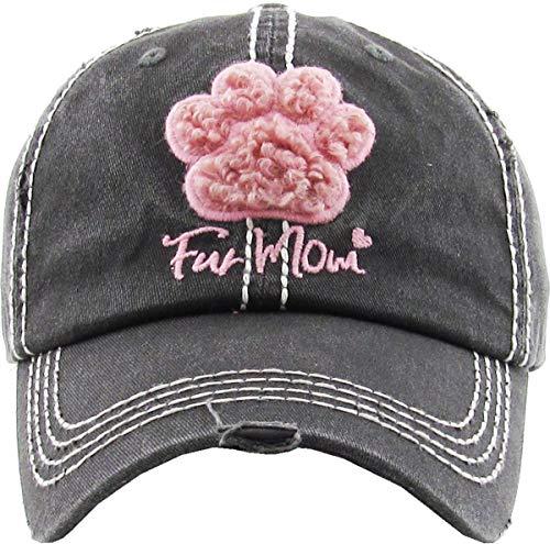 H-212-FUR06 Distressed Baseball Cap Vintage Dad Hat - Fur Mom (Black)