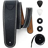 POYOLEE Leather Guitar Strap for Acoustic, Electric and Bass Guitar with Picks and Strap Locks, Reversible and Adjustable (Standard, Black/Brown)