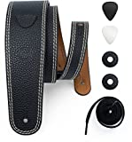 POYOLEE Leather Guitar Strap for Acoustic, Electric and Bass Guitar with Picks and Strap Locks, Reversible and Adjustable (37-50-Inches, Black/Brown)