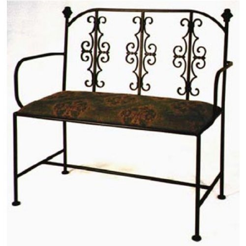 Grace Gothic Wrought Iron Loveseat, 40in, Figurine Fabric, Jade Patina Finish