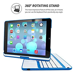 "iPad Air and New iPad 2017 9.7"" Keyboard, Snugg [Blue] Wireless Bluetooth Keyboard Case Cover 360° degree Rotatable Keyboard for Apple iPad Air and New iPad 2017 9.7"""