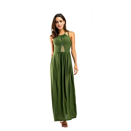 WANG Vestidos de Las Mujeres Sexy Espalda Abierta Verano Vestido de Fiesta Vestido de Noche (
