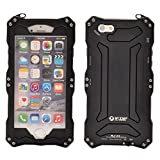 R-JUST Waterproof Shockproof Metal Aluminum Gorilla Glass Case For Apple iPhone 6 Plus / 6S Plus 5.5 inch Black