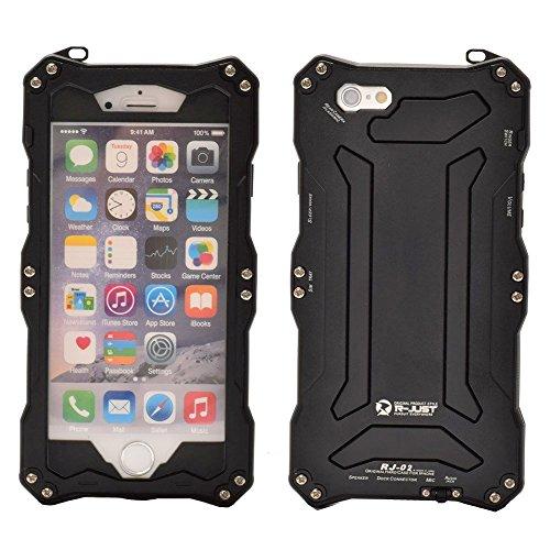 R-JUST Waterproof Shockproof Metal Aluminum Gorilla Glass Case For Apple iPhone 6 Plus/6S Plus 5.5 inch Black