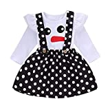 Sikye Baby Girls Outfits Christmas Ruffle Long Sleeve Snowman Tops T-Shirt and Dot Suspender Skirt Xmas Costumes (80 (6-12M), White)