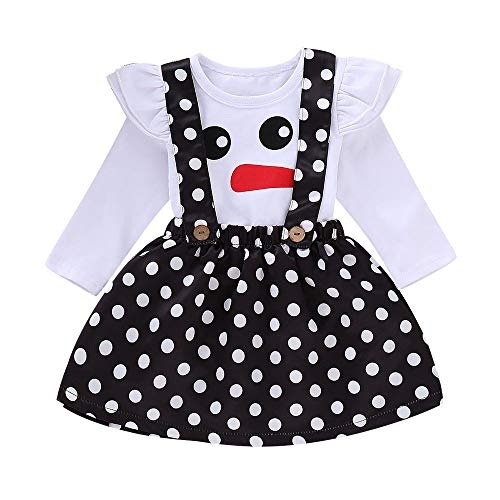 2018 New!!Baby Girls Outfit Set,0-4 Years Infant Christmas Xmas Snowman Dot Tops T-Shirt Strap Skirt (6-12 Months, -