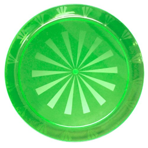 Party Essentials N161275 Heavy Duty Brights Plastic Round Tray, 16'' Diameter, Neon Green (Case of 12) by Party Essentials