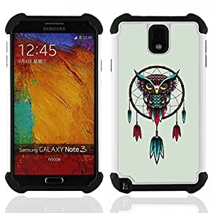 BullDog Case - FOR/Samsung Galaxy Note3 N9000 N9008V N9009 / - / Awesome Colorful Owl Dream Cather /- H??brido Heavy Duty caja del tel??fono protector din??mico - silicona suave
