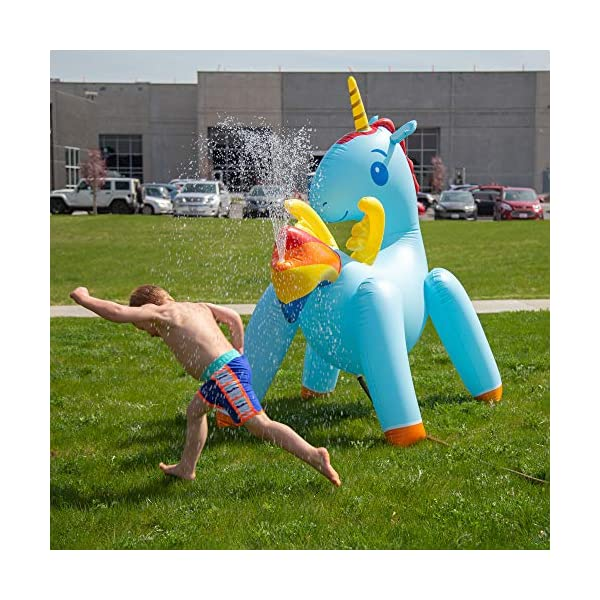 JumpOff Jo Unicorn Yard Water Sprinkler, Large Inflatable Toy, 44 x 60 x 67 Inches 9